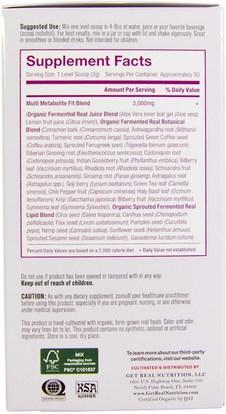 المكملات الغذائية، سوبرفوودس Get Real Nutrition, Multi Metabolite Fit, 90 g