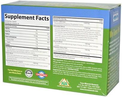 المكملات الغذائية، سوبرفوودس، الخضر Trace Minerals Research, Greens Pak, Berry, 30 Packets, 0.26 oz (7.5 g) Each