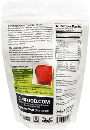 المكملات الغذائية، سوبرفوودس Sunfood, Raw Organic Lucuma Powder, 8 oz (227 g)
