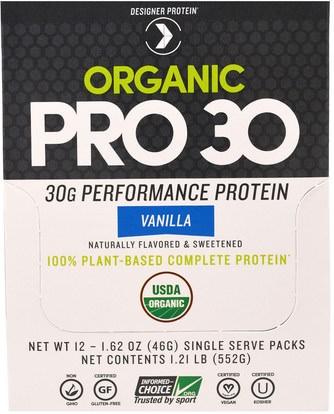 المكملات الغذائية، يهز بروتين مصل اللبن Designer Protein, Organic Pro 30, Vanilla, 12 Packs, 1.62 oz (46 g) Each