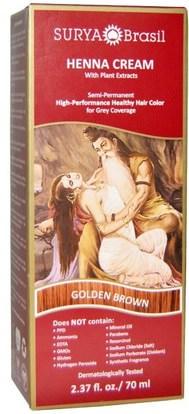 Surya Henna, Henna Cream, High-Performance Healthy Hair Color for Grey Coverage, Golden Brown, 2.37 fl oz (70 ml) ,حمام، الجمال، الشعر، فروة الرأس، لون الشعر، العناية بالشعر