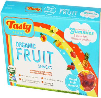Tasty Brand, Organic Fruit Snack Gummies, Mixed Fruit Flavors, 5 Pouches, 0.8 oz (23 g) Each ,الطعام، الوجبات الخفيفة، الحلوى