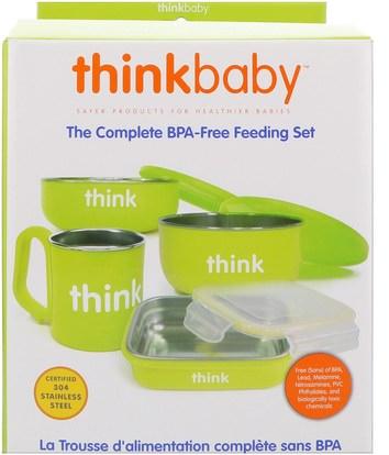 Think, Thinkbaby, The Complete BPA-Free Feeding Set, Light Green, 1 Set ,صحة الأطفال، أطفال الأطعمة، ثينكبابي الفئة