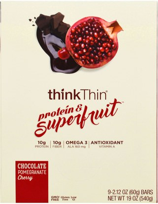 ThinkThin, Protein & Superfruit, Chocolate Pomegranate Cherry, 9 Bars, 2.12 oz (60 g) Each ,والوجبات الخفيفة، والوجبات الخفيفة الصحية، والحانات