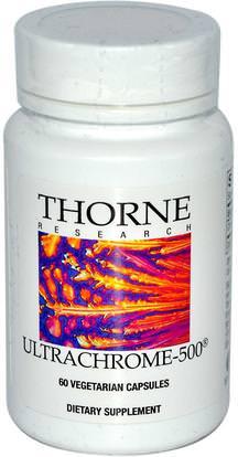 Thorne Research, UltraChrome-500, 60 Vegetarian Capsules ,المكملات الغذائية، المعادن، الكروم