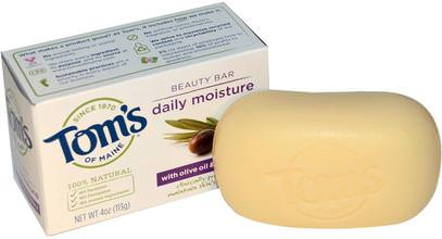 Toms of Maine, Natural Beauty Bar, Daily Moisture with Olive Oil & Vitamin E, 4 oz (113 g) ,حمام، الجمال، الصابون
