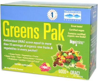 Trace Minerals Research, Greens Pak, Berry, 30 Packets, 0.26 oz (7.5 g) Each ,المكملات الغذائية، سوبرفوودس، الخضر
