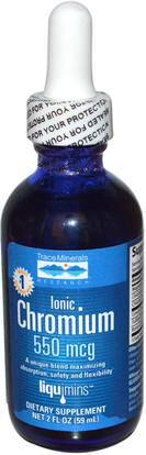 Trace Minerals Research, Ionic Chromium, 550 mcg, 2 fl oz (59 ml) ,المكملات الغذائية، المعادن، الكروم، المعادن السائلة