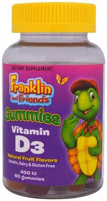 Treehouse Kids, Franklin and Friends, Gummies, Vitamin D3, Natural Fruit Flavors, 400 IU, 60 Gummies ,صحة الأطفال، مكملات الأطفال، منتجات حساسة للحرارة