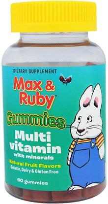 Treehouse Kids, Max & Ruby, Gummies, Multi Vitamin with Minerals, Natural Fruit Flavors, 60 Gummies ,منتجات حساسة للحرارة، الفيتامينات، غوميس الفيتامينات