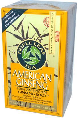 Triple Leaf Tea, American Ginseng, Caffeine-Free, 20 Tea Bags, 1.4 oz (40 g) ,المكملات الغذائية، أدابتوغين، الانفلونزا الباردة والفيروسية، الجينسنغ الأمريكية