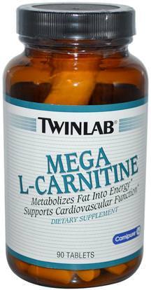 Twinlab, Mega L-Carnitine, 90 Tablets ,المكملات الغذائية، والأحماض الأمينية، ل كارنيتين