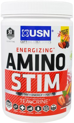 USN, Energizing, Amino Stim, Fruit Punch, 11.64 oz (330 g) ,Herb-sa