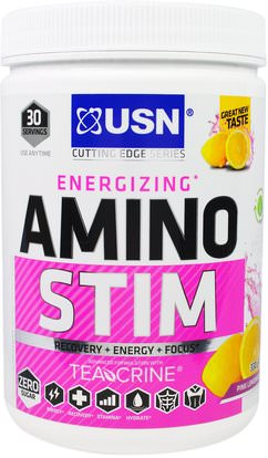 USN, Energizing, Amino Stim, Pink Lemonade, 11.64 oz (330 g) ,Herb-sa