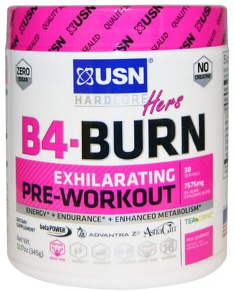 USN, Hers B4-Burn, Pre-Workout, Pink Lemonade, 12.17 oz (345 g) ,والرياضة، والمنتجات الرياضية النسائية، تجريب