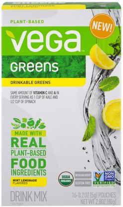 Vega, Drinkable Greens, Mint Lemonade, 16 Pouches, 0.2 oz (5 g) Each ,المكملات الغذائية، سوبرفوودس، الخضر