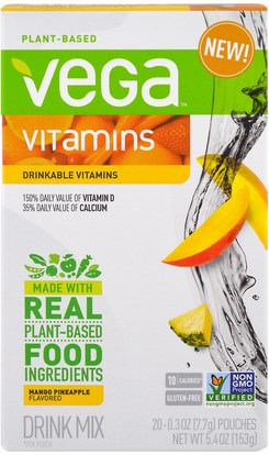 Vega, Drinkable Vitamins, Mango Pineapple, 20 Pouches, 0.3 oz (7.7 g) Each ,الفيتامينات، الفيتامينات السائلة