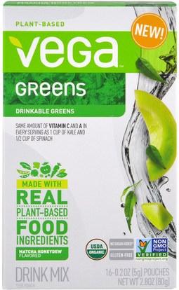 Vega, Vega Drink Mix, Greens, Matcha Honeydew Flavored, 16 Pouches, 0.2 oz (5 g) Each ,المكملات الغذائية، سوبرفوودس، الخضر