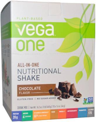 Vega, Vega One, All-in-One Nutritional Shake, Chocolate, 10 Packets, 1.6 oz (46 g) Each ,المكملات الغذائية، سوبرفوودس