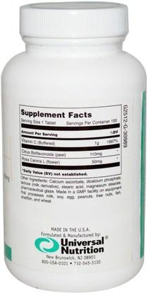 وفيتامين ج، وفيتامين ج مخزنة Universal Nutrition, Buffered Vitamin C, 1000 mg, 100 Tablets