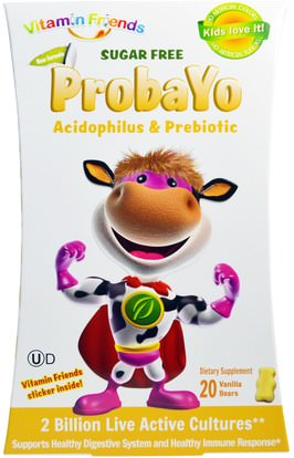 Vitamin Friends, Probayo, Sugar Free, Acidophilus & Prebiotic, 20 Vanilla Bears ,المكملات الغذائية، البروبيوتيك، الأطفال البروبيوتيك، استقرت البروبيوتيك