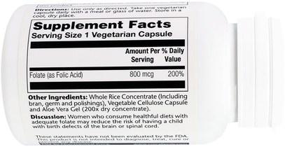 الفيتامينات، حمض الفوليك Solaray, Folic Acid, 800 mcg, 100 Veggie Caps