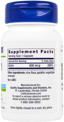 الفيتامينات، فيتامين ب، البيوتين Life Extension, Biotin, 600 mcg, 100 Capsules