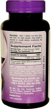 الفيتامينات، فيتامين ب، البيوتين Natrol, Biotin, Fast Dissolve, Strawberry Flavor, 1,000 mcg, 90 Tablets