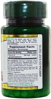 الفيتامينات، وفيتامين ب، وفيتامين ب 12، وفيتامين ب 12 - سيانوكوبالامين Natures Bounty, B-12, Sublingual, Natural Cherry Flavor, 500 mcg, 100 Microlozenges