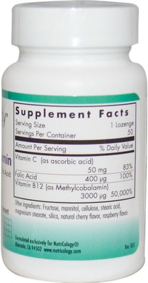 الفيتامينات، وفيتامين ب، وفيتامين ب 12، وفيتامين ب 12 - ميثيلكوبالامين Nutricology, B12 Methylcobalamin, with Folic Acid, 50 Veggie Lozenges