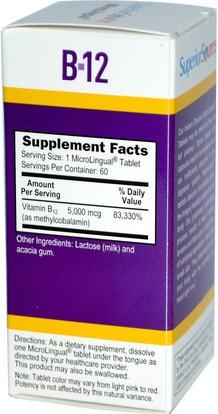 الفيتامينات، وفيتامين ب، وفيتامين ب 12، وفيتامين ب 12 - ميثيلكوبالامين Superior Source, Methylcobalamin B12, 5000 mcg, 60 MicroLingual Instant Dissolve Tablets