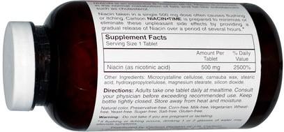 الفيتامينات، فيتامين ب، فيتامين b3، النياسين دافق مجانا Carlson Labs, Niacin-Time, 500 mg, 500 Tablets