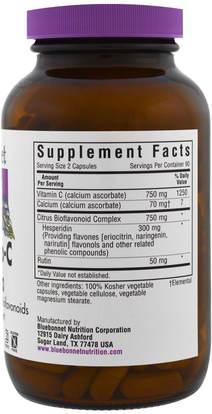 الفيتامينات، فيتامين ج Bluebonnet Nutrition, Mega Bio-C Formula, 180 Vcaps