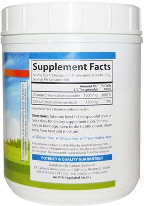 الفيتامينات، فيتامين ج مسحوق وبلورات Carlson Labs, Mild-C, Vitamin C Crystals, 35 oz (1000 g)