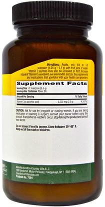 الفيتامينات، فيتامين ج مسحوق وبلورات Country Life, Vitamin C Crystals, 8 oz (226 g)