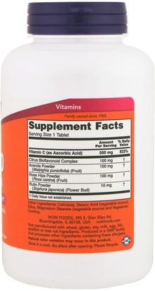 الفيتامينات، فيتامين ج، الوركين الوردية Now Foods, C-500 Complex, 250 Tablets