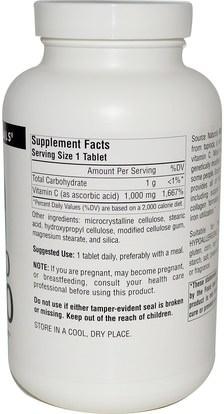 الفيتامينات، وفيتامين ج، وفيتامين ج حمض الاسكوربيك Source Naturals, Non-GMO C-1000, 240 Tablets