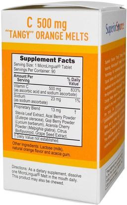 الفيتامينات، فيتامين ج، فيتامين ج مضغ Superior Source, C Tangy Orange Melts, 500 mg, 90 MicroLingual Instant Dissolve Melts