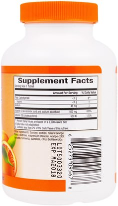 الفيتامينات، فيتامين ج، فيتامين d3 Sunkist, Vitamin C + D, Chewable Juice Orange, 500 mg / 500 IU, 80 Chewable Tablets