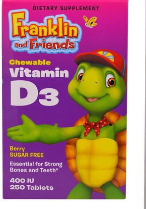 الفيتامينات، فيتامين d3، ملاحق الأطفال Treehouse Kids, Franklin and Friends, Chewable Vitamin D3, Berry, 400 IU, 250 Tablets