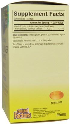 الفيتامينات، فيتامين e Natural Factors, Whole Earth & Sea, Sunflower Vitamin E, 400 IU, 90 Softgels