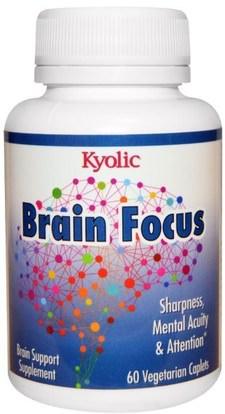 Wakunaga - Kyolic, Brain Focus, 60 Veggie Caplets ,والمكملات الغذائية، والصحة، والدماغ