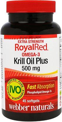 Webber Naturals, RoyalRed Omega-3 Krill Oil Plus, Extra Strength, 500 mg, 45 Softgels ,المكملات الغذائية، زيت الكريل