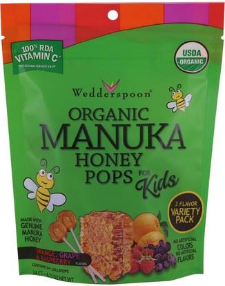 Wedderspoon, Organic Manuka Honey Pops For Kids, Orange, Grape & Raspberry, 24 Count, 4.15 oz ,الطعام، الوجبات الخفيفة، الحلوى