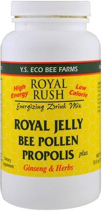 Y.S. Eco Bee Farms, Royal Rush Energizing Drink Mix, Royal Jelly, Bee Pollen, Propolis Plus Ginseng & Herbs, 5.0 oz (143 g) ,المكملات الغذائية، منتجات النحل