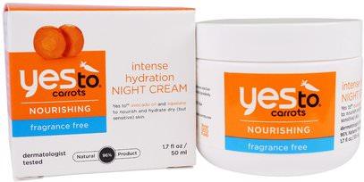 Yes to, Nourishing, Intense Hydration Night Cream, Carrots, Fragrance Free, 1.7 fl oz (50 ml) ,الجمال، العناية بالوجه، الكريمات المستحضرات، الأمصال، الصحة، الجلد، الكريمات الليلية