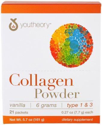 Youtheory, Collagen Powder, Vanilla, 21 Packets, 0.27 oz (7.7 g) Each ,الصحة، العظام، هشاشة العظام، مكافحة الشيخوخة، الكولاجين