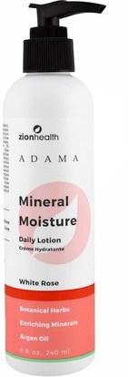 Zion Health, Adama Mineral Moisture, Daily Lotion, White Rose, 8 oz (240 ml) ,حمام، الجمال، المستحضرات أرغان والزبدة، غسول الجسم