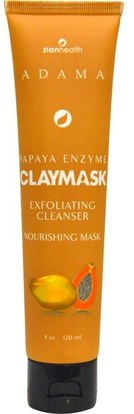 Zion Health, Papaya Enzyme Claymask, 4 oz (120 ml) ,الجمال، أقنعة الوجه، السكر، أقنعة الفاكهة، أقنعة الطين