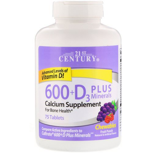 21st Century, 600+D3 Plus Minerals, Fruit Punch, 75 Chewables فوائد